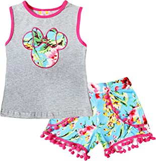 Boutique Girls Disney World Minnie Mouse Capri Outfit - Spring Summer Short Sleeves