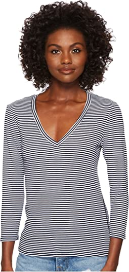 Montauk Stripe 3/4 Sleeve Deep V-Neck
