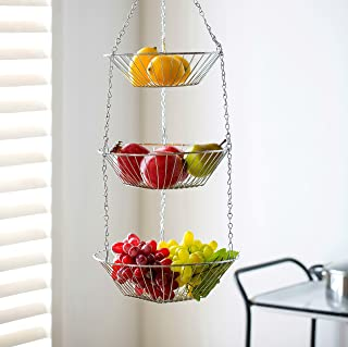 Deppon Wire Hanging Fruit Basket 3-Tiered Detachable Heavy Duty Kep for Home Kitchen (Sliver)