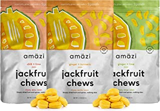 Amazi Jackfruit Chews Variety Pack - Ginger Turmeric, Ginger Lime & Chili Lime Dried Fruit Chews - Healthy Snacks with Anti-Inflammatory Benefits - Organically Grown, Vegan Fruit Snacks - Pack of 3