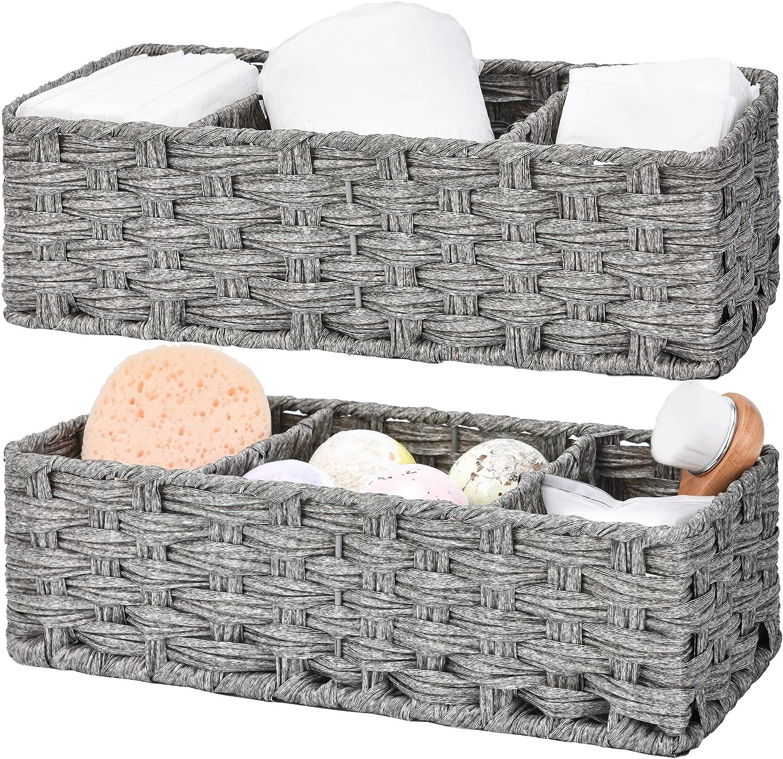 GRANNY SAYS Toilet Tray Tank Topper, Set of 2 Baskets for Bathroom Organizing, Gray Bathroom Decor Baksets, 14.4