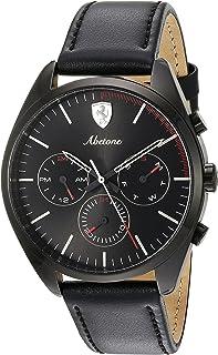 Ferrari Men's 'Abetone' Quartz Stainless Steel and Leather Casual Watch, Color Black (Model: 0830503)