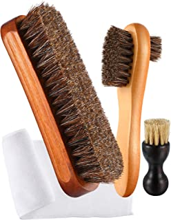 3 Pieces Horsehair Shoe Polishing Dauber Kit Shine Brush Shoe Care Applicators