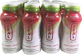 Zurvita Zeal for Life Nutritional Drink Mix - Classic Kiwi Watermelon, 14 Grams 0.5 oz 24 Pack, Weight Loss Supplements, Energy Booster, Health Optimizer, Lactose Free, Glucose Control