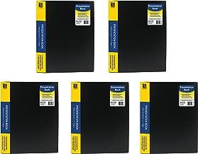 C-Line Pocket Bound Sheet Protector Presentation Book, For 8.5 x 11-Inch Inserts, Black, Pack of 5