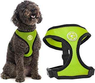 Gooby Soft Mesh Dog Harness - Green, Medium - All Weather Mesh Head-in Small Dog Harness with D Ring Leash - Perfect on Th...