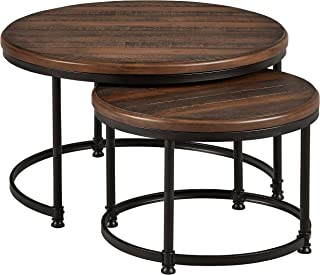 Stone & Beam Wood and Metal Round Nesting Side End Tables, 34