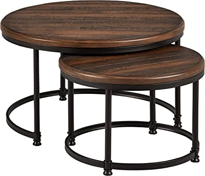 """Amazon Brand – Stone & Beam Wood and Metal Round Nesting Side End Tables, 34"""" W, Set of 2, Pine"""