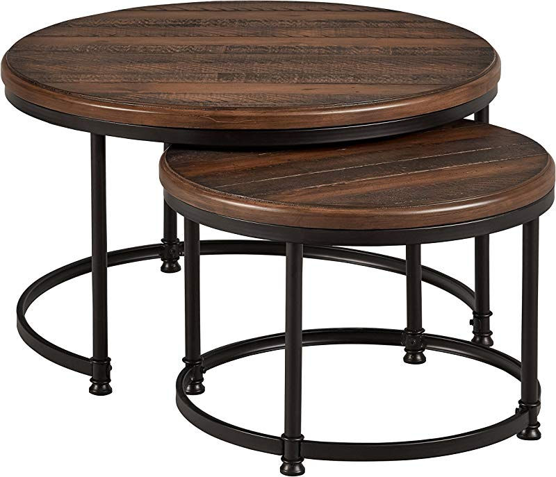 Stone Beam Wood And Metal Round Nesting Side End Tables 34 W Set Of 2 Pine
