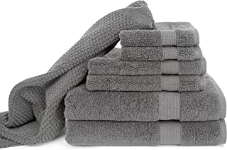 Blake Deluxe 7 Piece Bath Towel and Bath Mat Set - Densely Woven Premium Ultra Soft, High Absorbency Combed Cotton - Luxury Spa Bath Towels - 700 GSM (Light Grey)
