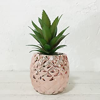 "Porcelain Potted Artificial Succulent 7.8"" Pineapple Home Decor Office Plant (Rose Gold)"