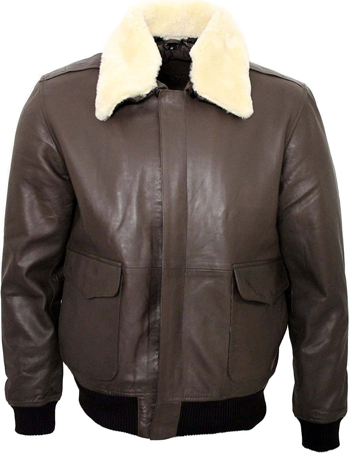 Infinity Men's A2 Brown Sheep Nappa Leather Bomber Jacket with Detachable Sheepskin Collar