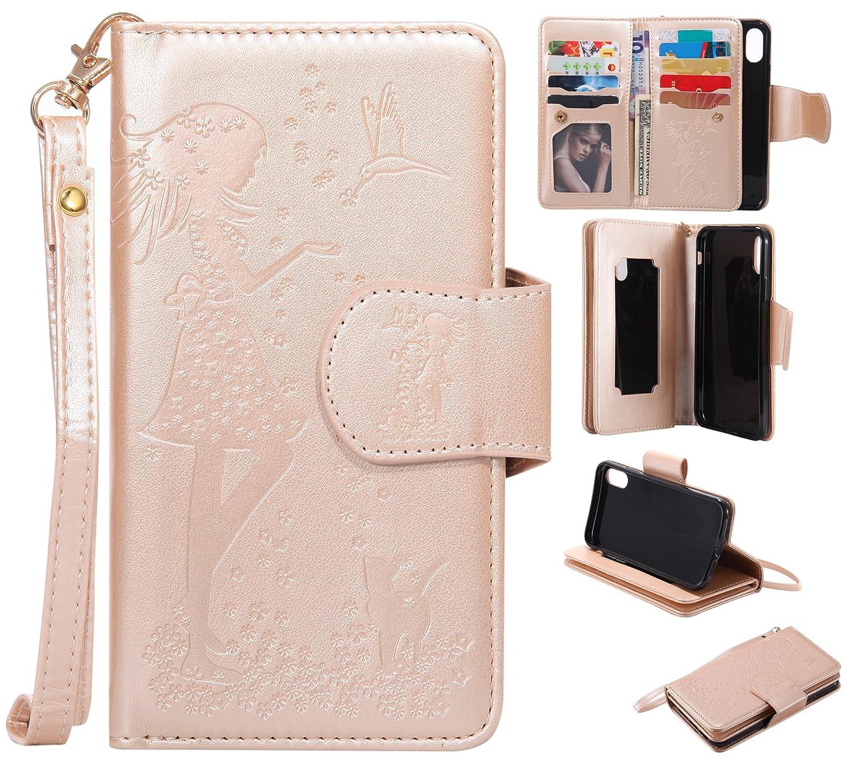 iPhone XS/iPhone 10 のための携帯電話のケース - iPhone XS/iPhone X の財布ケースのフリップケースSevenPanda PUレザーケースのカバーのフリップケースの印刷花の女の子の蝶の革ケースFolioの携帯電話のケース磁気クリップスタンドクレジットカードの場合