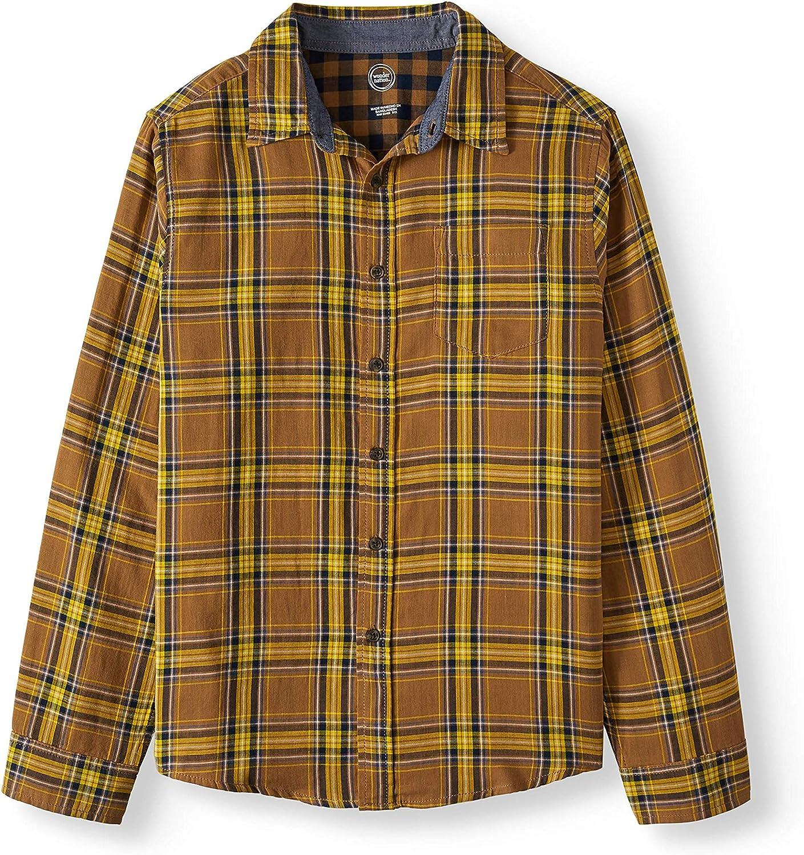 Wonder Nation Button Down Shirt Plaid Brown