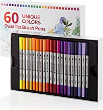 Dual Tip Brush Pens 60 Unique Colors By Positive Art: Wide Variety Of ColorsFor All Arts And Crafts, Ultra Fine And Jumbo Tip, With Color Chart And Stickers In Storing Case