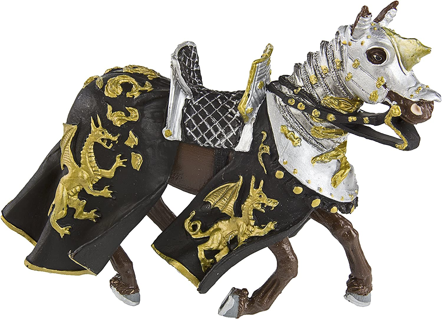 Knights  Horse with Black Robe and gold Dragon