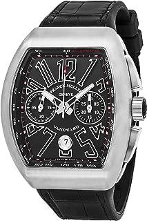 Vanguard Mens Automatic Date Chronograph Black Titanium Face Black Rubber Strap Watch V 45 CC DT TT BR.NR.NR