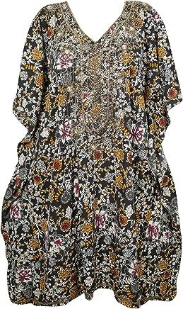 138554bde7 Sequin Work Black Floral Short Caftan Kimono Cover Up Beach Swimwear One  Size