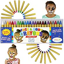 JOYIN 24 Colors Face Paint Safe & Non-Toxic Face and Body Crayons (Large Size 3 inch) Ultimate Party Pack Including 6 Metallic Colors for Halloween Makeup Party Suppiles