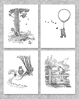 Winnie the Pooh Black and White Nursery Art (Baby Wall Prints Boys, Girls Room) – 8x10 Unframed, Set of 4