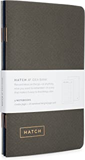 Hatch Idea Bank - Set of 3 Pocket Notebooks with Index & Numbered Dot Grid Pages - Small idea notebooks, mini bullet journal, or field memo notepad - Perfect for taking notes - 3.5 x 5.5