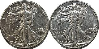 1939 P&D Walking Liberty Half Dollar Set About Uncirculated
