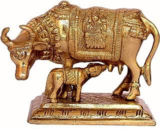 StonKraft Hinduism Lucky Figurine - Nandi Sacred Kamdhenu Cow Kamadhenu Cow and Calf GAI Gau Brass Sculpture
