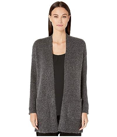 Eileen Fisher Airspun Wool Mohair Shawl Collar Cardigan (Charcoal) Women