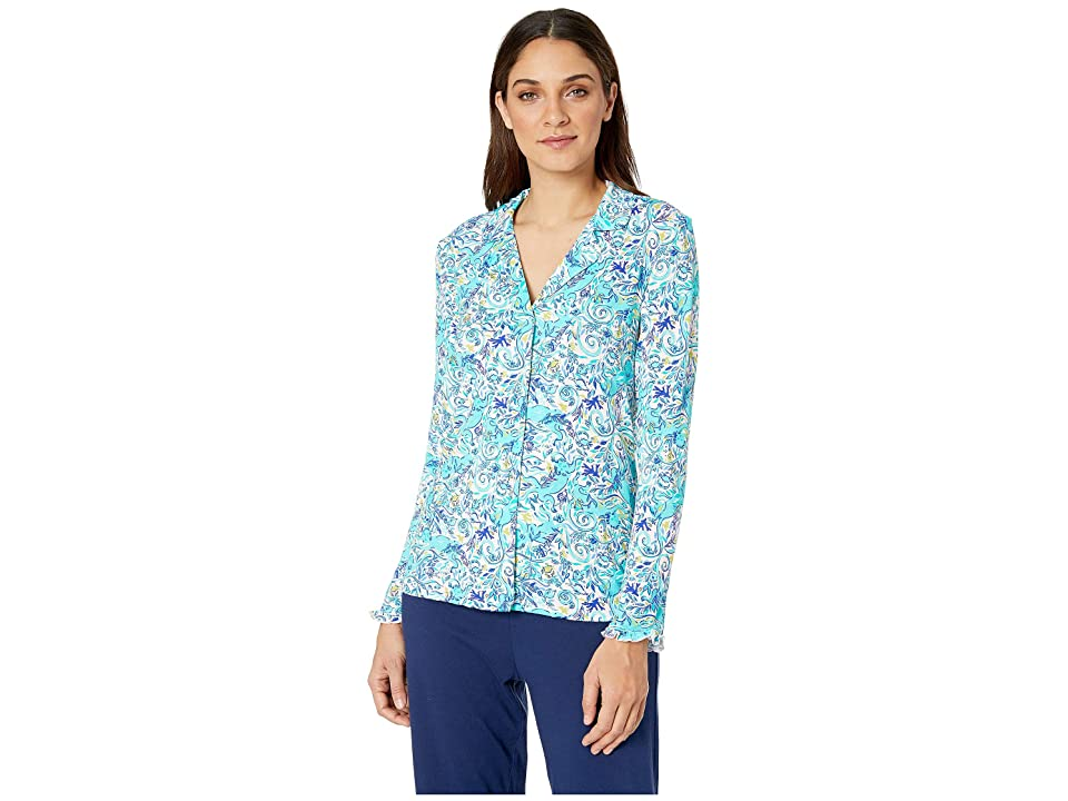 Lilly Pulitzer Ruffle PJ Button-Up Top (Melon Fig Tint Monkey Sea) Women