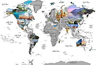 World Scratch Off Travel Map Large 32 by 24 Inch Poster Using Customized Photographs for Every Country