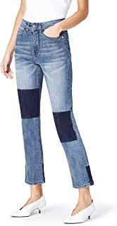 Amazon Brand - find. Women's Straight Leg High Rise Contrast Jeans