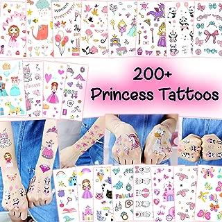 200+ Princess Girls Temporary Tattoos - Easy-to-Use Assorted Bulk Waterproof Tattoo Sticker Art for Children (Princess Tattoos - 20 Sheets)