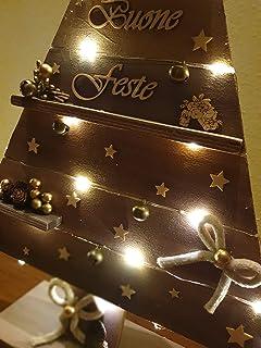 Albero Decorativo in Legno con le Mensoline, Decorazione Natalizio Capodanno Natale Feste Country Rustico Metallizzato
