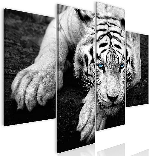 decomonkey Bilder Tiger 126x98 cm 4 Teilig | Leinwandbilder Bild auf Leinwand Vlies Wandbild Kunstdruck Wanddeko Wand Wohnzimmer Wanddekoration...