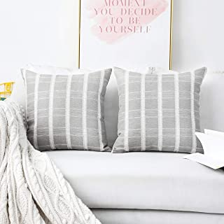 HOME BRILLIANT Set of 2 Lace Striped Checker Decorative Throw Pillow Covers Cushion Covers, Polyester & Polyester Blend, P...