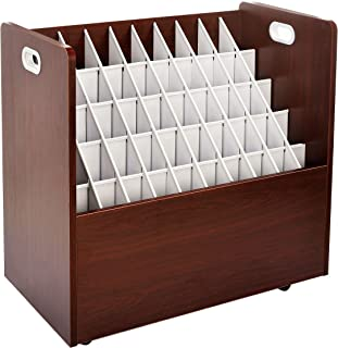 AdirOffice Mobile Wood Blueprint Roll File - Sturdy, Heavy Duty Large Document Organizer - Convenient Storage for Home Office or School Use (50 Slots, Mahogany)