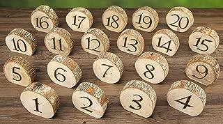 David Tutera RH0715-4146-ED Rustic Wedding Wood Slice Table Numbers: 20 Pieces, Multicolor