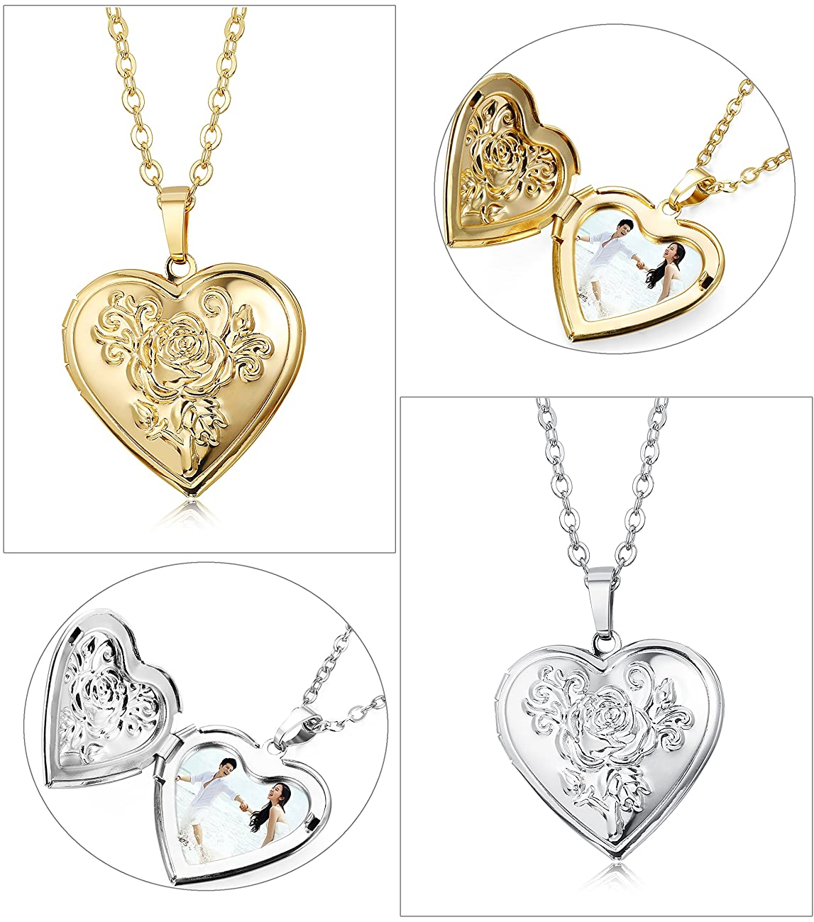 Udalyn 2 Pcs Heart Locket Necklace for Girls Womens Memory Photo Pendant Necklace for Men Lovers Chain 20''+2''