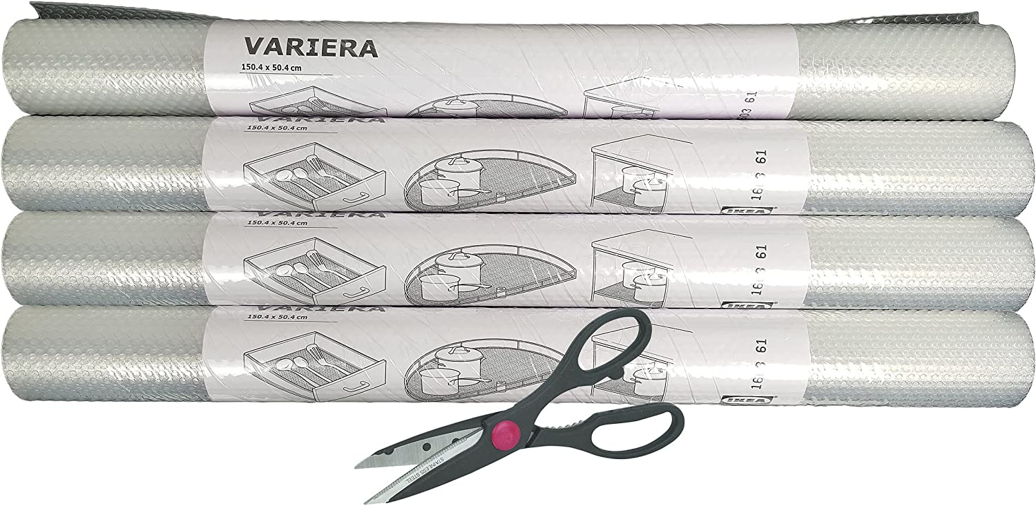 IKEA Variera Shelf Liner Drawer Mat and Multipurpose Scissors, Clear - [4 PACK ROLL + SCISSORS]