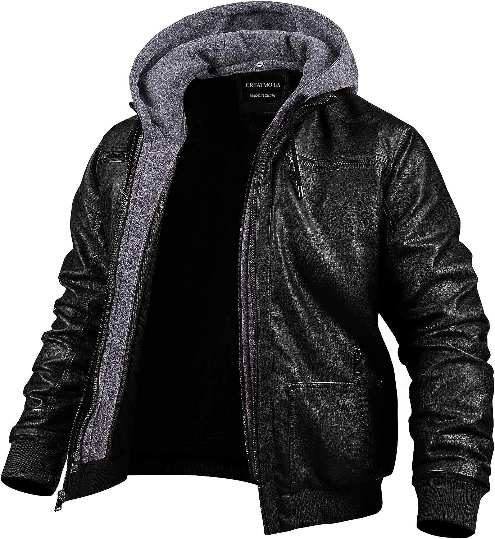 Men's Faux Leather Jacket Motorcycle Jacket Waterproof Windproof PU Moto Outerwear Vintage Bomber Hoodie with Removable Hood