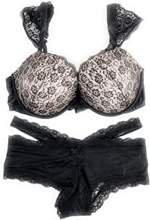 Bundle of 2: 1 36DD Dream Angels Push Up Bra and Large Cheeky Panties Black Nude