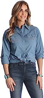 Wrangler Women's Long Sleeve Western Yoke Snap Work Shirt, Chambray, L