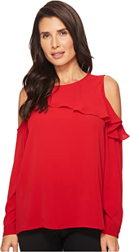 Vince Camuto - Cold-Shoulder Asymmetrical Ruffle Yoke Blouse