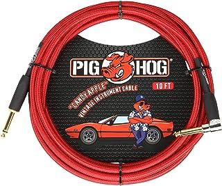 Pig Hog キャンディ アップルレッド 10フィート 楽器ケーブル 直角PCH10CAR