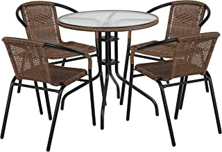 Flash Furniture 28'' Round Glass Metal Table with Dark...