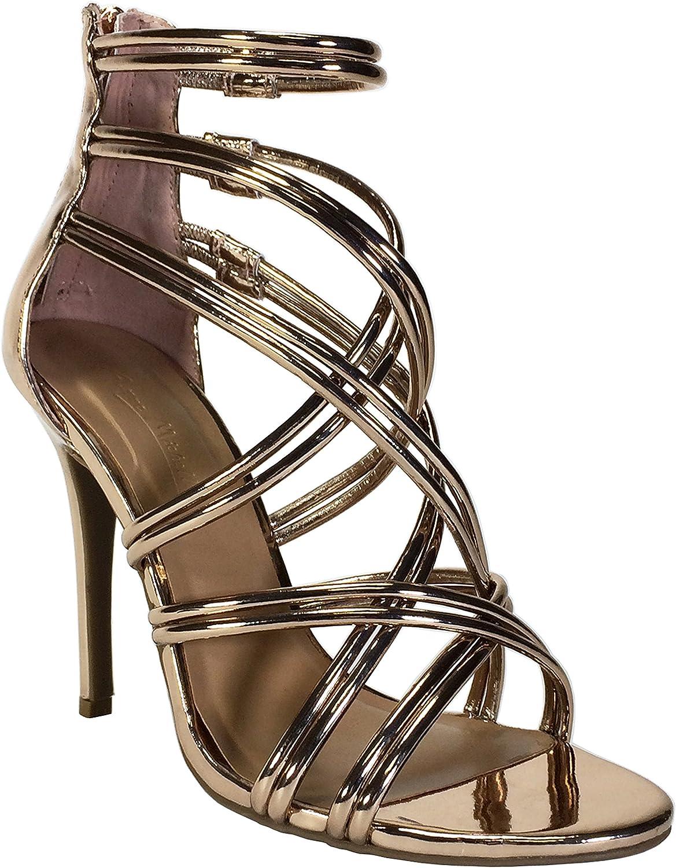 17ea7ef974601 Anne Michelle Women's Multi Strap Sandal Metallic Heel nrzyur103-New ...