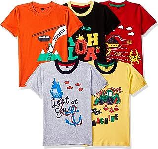 T2F Boy's Plain Regular fit T-Shirt (Pack of 5)