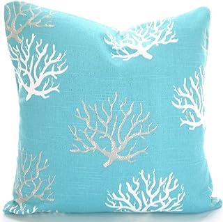 Toll2452 - Fundas de almohada náutica color azul costero coral cojines cojines cojines cojines decorativos decoración playa
