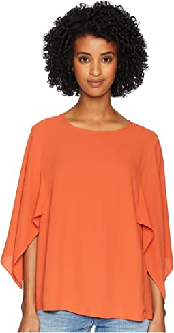 Silk Georgette Crepe Round Neck Elbow Cape Sleeve Top