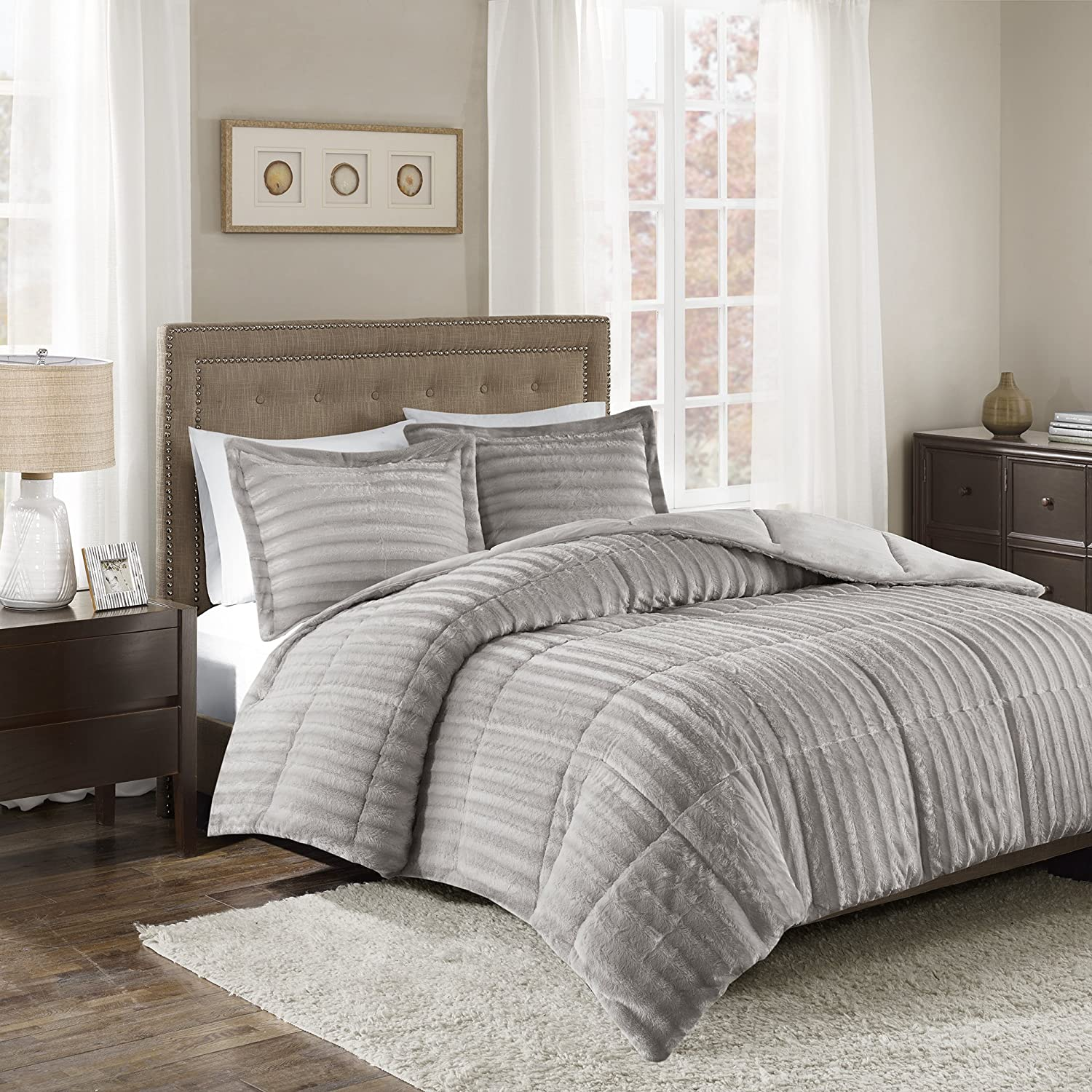 Madison Park Duke Full Queen Size Bed Comforter Set - Grey, Solid – 3 Pieces Bedding Sets – Faux Fur Plush Bedroom Comforters